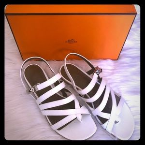 Hermes Marine White Leather Sandal